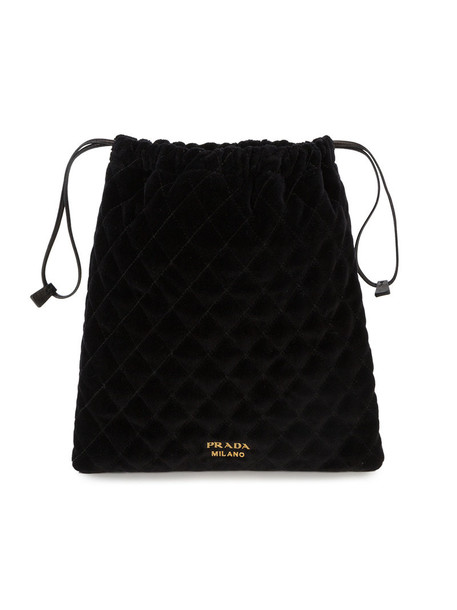women quilted bag pouch leather black velvet