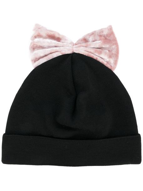 bow beanie black velvet hat