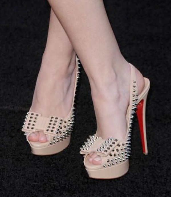 shoes spikes platform pumps spike platform pumps nude nude high heels louboutin