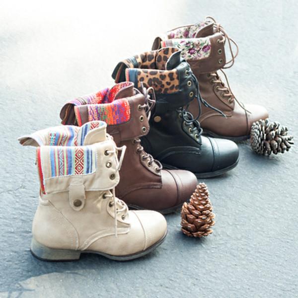 Foldover Lace Up Combat Boots Gojane Com