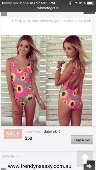 swimwear sunflower pineapple print one piece