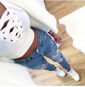 blouse,top,white,lace,crop tops,crop,shirt,laced,ribbed,pretty,tank top,cropped sweater,cropped,long sleeves,white top,white t-shirt,cute,knitted sweater,knitwear,sweater,lace top,tie up crop top,lace crop top,white crop tops,tight,bandaged crop top,jeans
