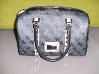 bag hand grey black beige studs rivets brand guess handbag accessories accessory satchel bag small