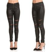 pants,glamour,slasher,leggings,faux,leather,black,mesh,slash,makeup table,vanity row,dress to kill,chic