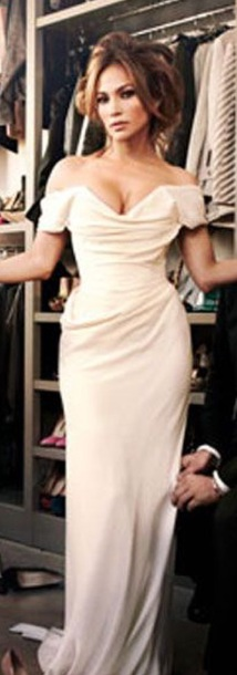 dress white dress draped dress jennifer lopez long dress