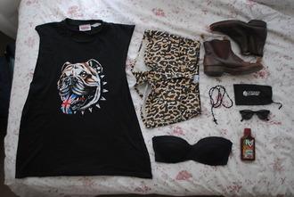 shoes shorts leopard print cheetah print shirt black tank top bulldog