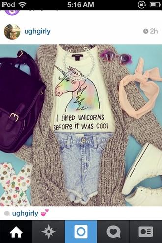 shirt unicorn rainbow cool