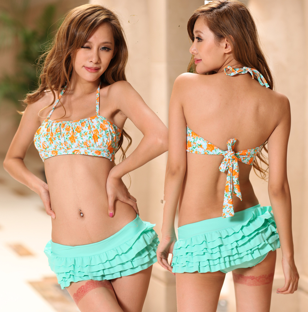 Cute Floral Bandeau Skirtini 2 Pcs Bikini Set Swimsuit Bathing Suit Swimwear 169-in Bikinis Set from Apparel & Accessories on Aliexpress.com