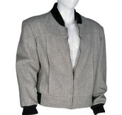 jacket,baseball jacket,grey,black ribbed cuffs,black ribbed neckline,black rear waistline,back to the future,thomas f. wilson,biff tannen,woolen,wool