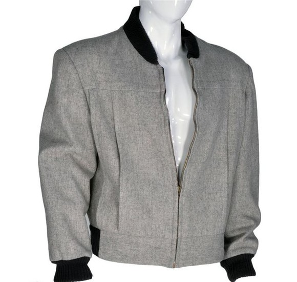 jacket baseball jacket back to the future gray grey black ribbed cuffs black ribbed neckline black rear waistline thomas f. wilson biff tannen woolen plain wool