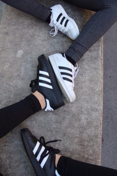 bcqkm Shoes: matching set, black, white, adidas superstars, adidas
