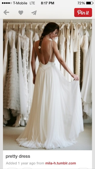 dress long white lace vintage backless braid prom dress wedding dress
