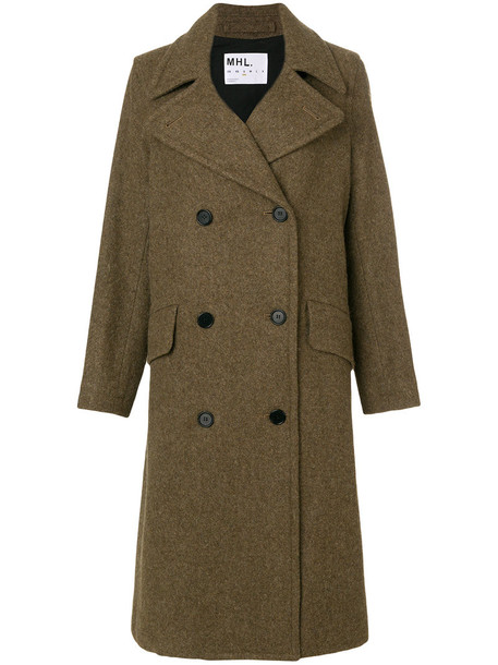coat double breasted women cotton wool brown