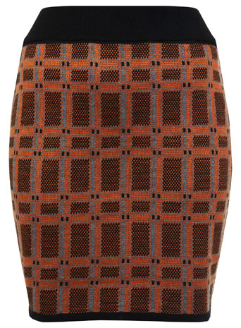 Orange Check Knitted Skirt - Miss Selfridge