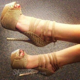shoes sexy leather beige high heels beautiful nice sandals cute fashion snake skin