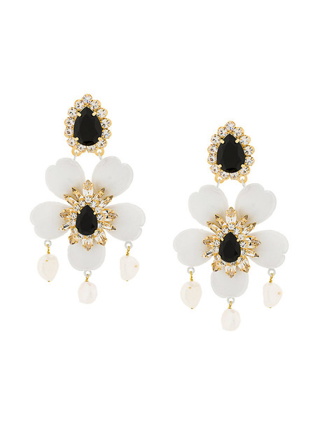 SHOUROUK women earrings pendant floral white jewels