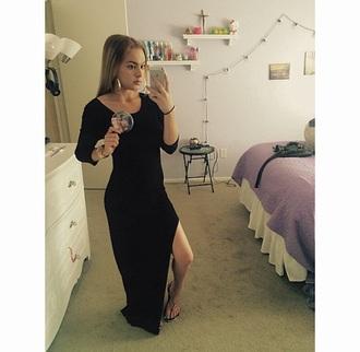 dress black maxi dress maxi slit long sleeve long
