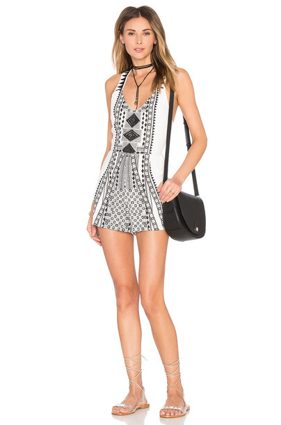 MINKPINK Eco Warrior Romper in black / white