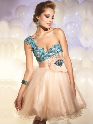 Buy Adorable Ball Gown One-shoulder Mini Homecoming Dress under 200-SinoAnt.com