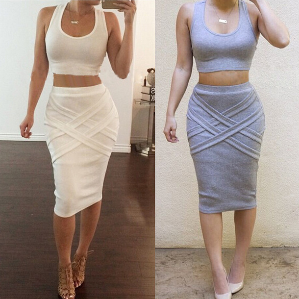 Dress baddies crop top and skirt outfit two-piece dress set sexy outfit white white ...
