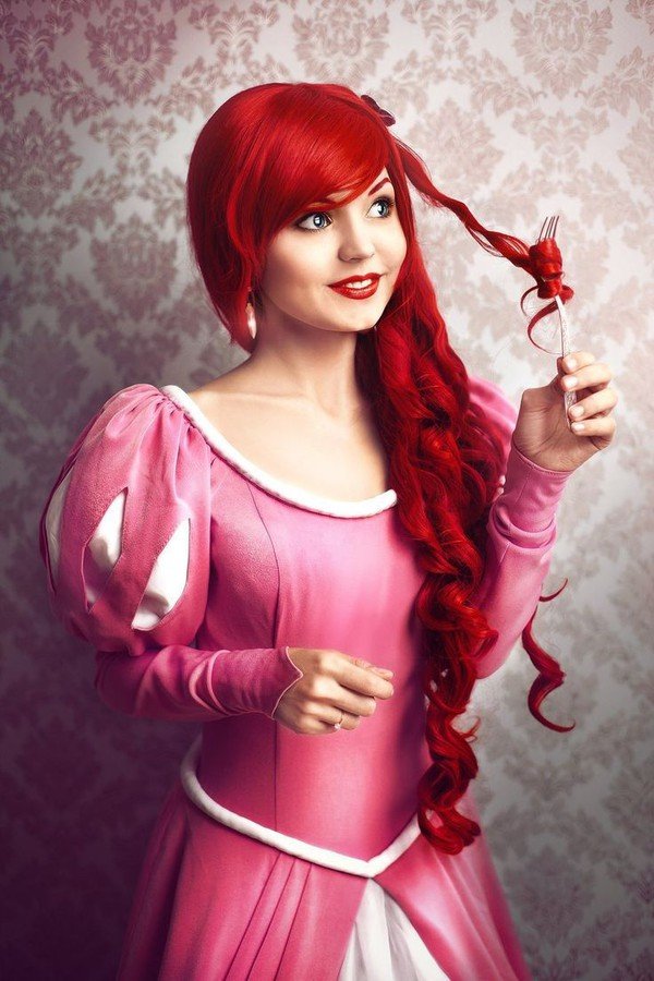 The Little Mermaid Cosplay Princess Ariel Pink Party Dress Costume Princess Ariel Pink Dress Custom Any Size For Adult Kids And Plus Size