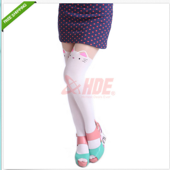 stockings shirt pink polka dot blue skirt thigh highs white thigh highs teal heels