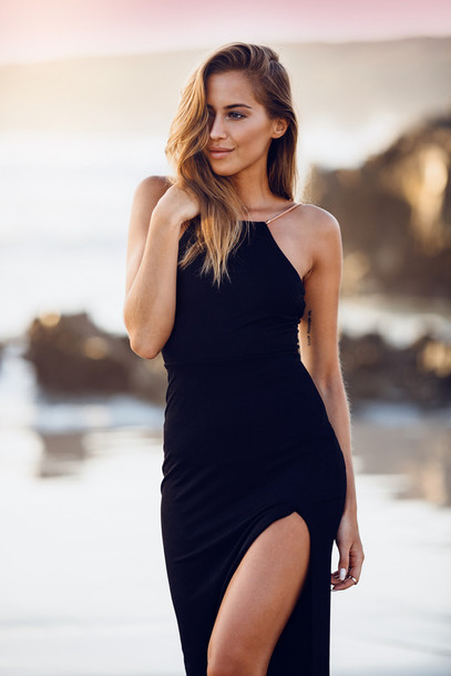 kenza blogger summer dress spaghetti strap slit dress black dress