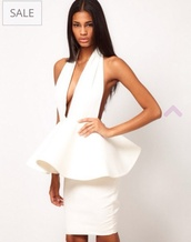 dress,white,white deep v dress