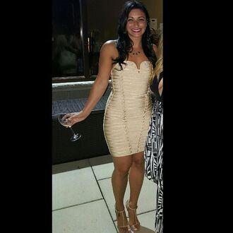 dress wow couture gold dress bandage dress
