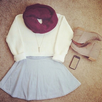 skirt sweater scarf shoes bag white cropped knit sweater white sweater warm sweater cute sweaters
