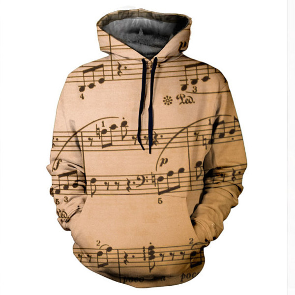 hoodie sweater music printed sweater