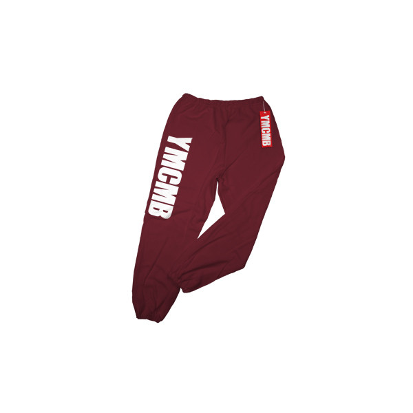 YMCMB Sweatpants White on Maroon by YMCMB - Polyvore