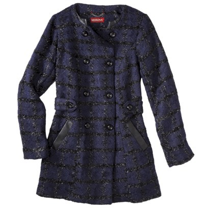 Merona® Women's Collarless Luxe Coat -Dark Blue : Target
