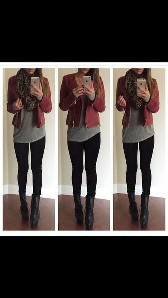 jacket leather jacket fashion red
