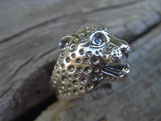 Cheetah ring in sterling silver with black cz's in by billyrebs