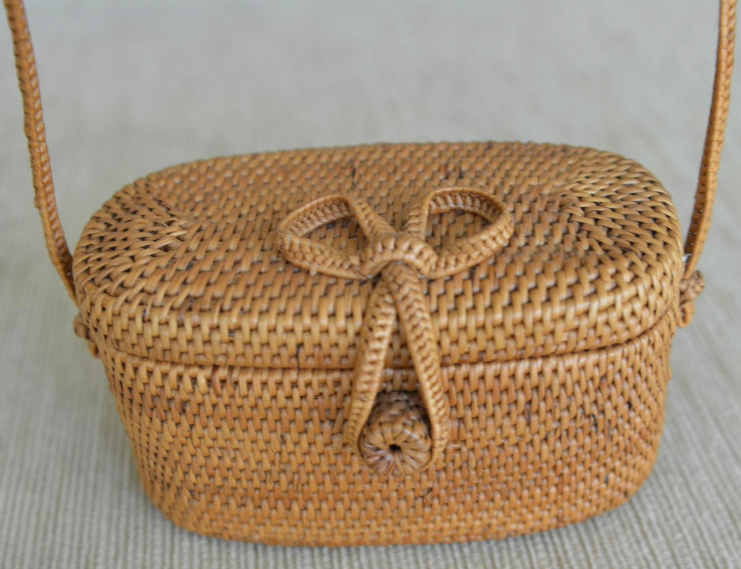 Woven Basket Purse : Basket purse tan woven rattan bag with brown leather straps