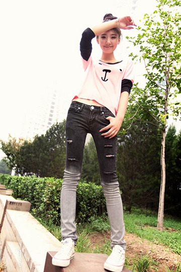 Black-White Gradient Effect Frayed Jeans [FHBI0006]- US$69.99 - PersunMall.com