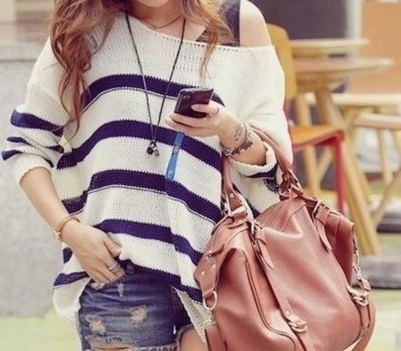 sweater off the shoulder sweater oversized sweater off the shoulder bag striped shirt stripes