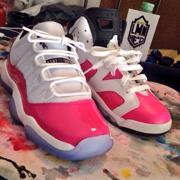 official photos 59698 72007 pink jordan shoes pink white jordans 11 s