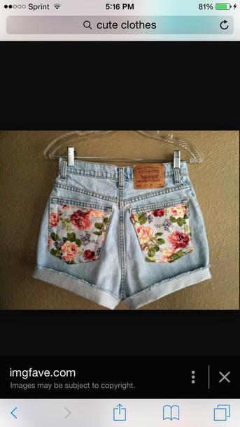shorts floral acid wash denim shorts flower pattern vintage