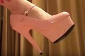shoes,closed toe,platform high heels,pink,glossy,ankle strap,heels,pumps,strappy heels,strappy,ankle strap heels,cute high heels,platform heels,high heels,light pink