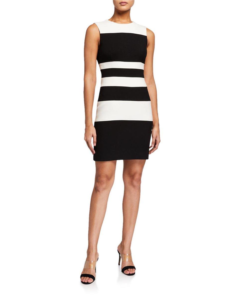 Bold Stripe Sleeveless Sheath Dress