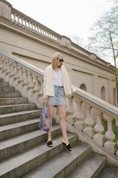 skirt,denim skirt,denim,slide shoes,bag,white top,jacket,sunglasses,necklace