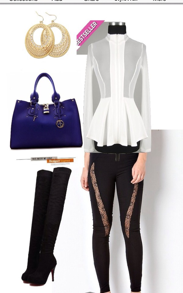 blouse shoes boots high heels leggings pants earrings bag fashion style