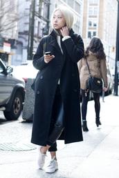 the haute pursuit,coat,sweater,pants,shoes,bag