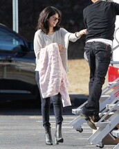 cardigan,boots,ankle boots,selena gomez,pullover,grey sweater,sweater,shoes,coat,high heels,sunglasses
