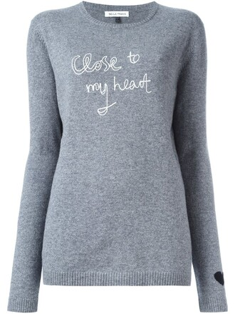 jumper heart grey sweater