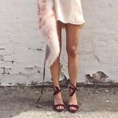 shoes,suede,burgundy,heels,high heels,sandals,red,bow,satin,fur