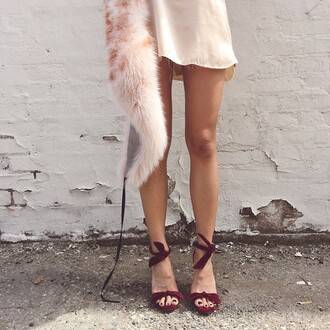 shoes suede burgundy heels high heels sandals red bow satin fur