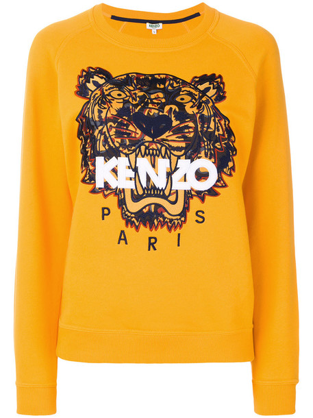 Kenzo sweatshirt embroidered women tiger cotton yellow orange sweater